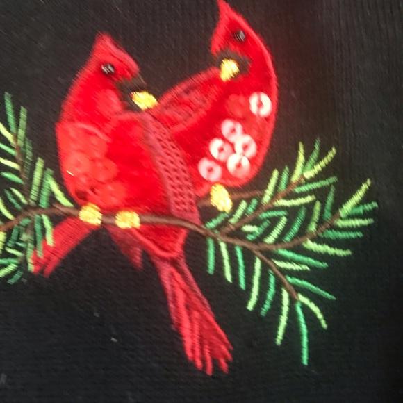 Christmas Cardinals and Holly cardigan.
